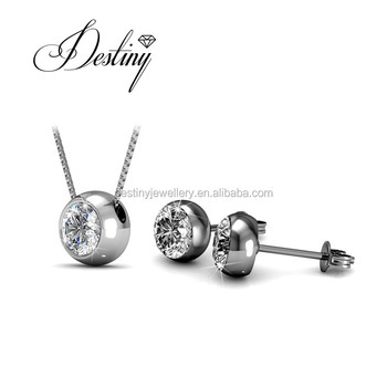 d01228b27 Destiny Jewellery fashion jewelry sets simple diamond pendants and earrings  for women made with crystal from