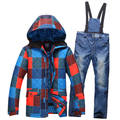 MEN Ski Brand Snowboard Costume Skiing Suit Sets Waterproof Windproof 30 warm Winter Snow Clothes Cold