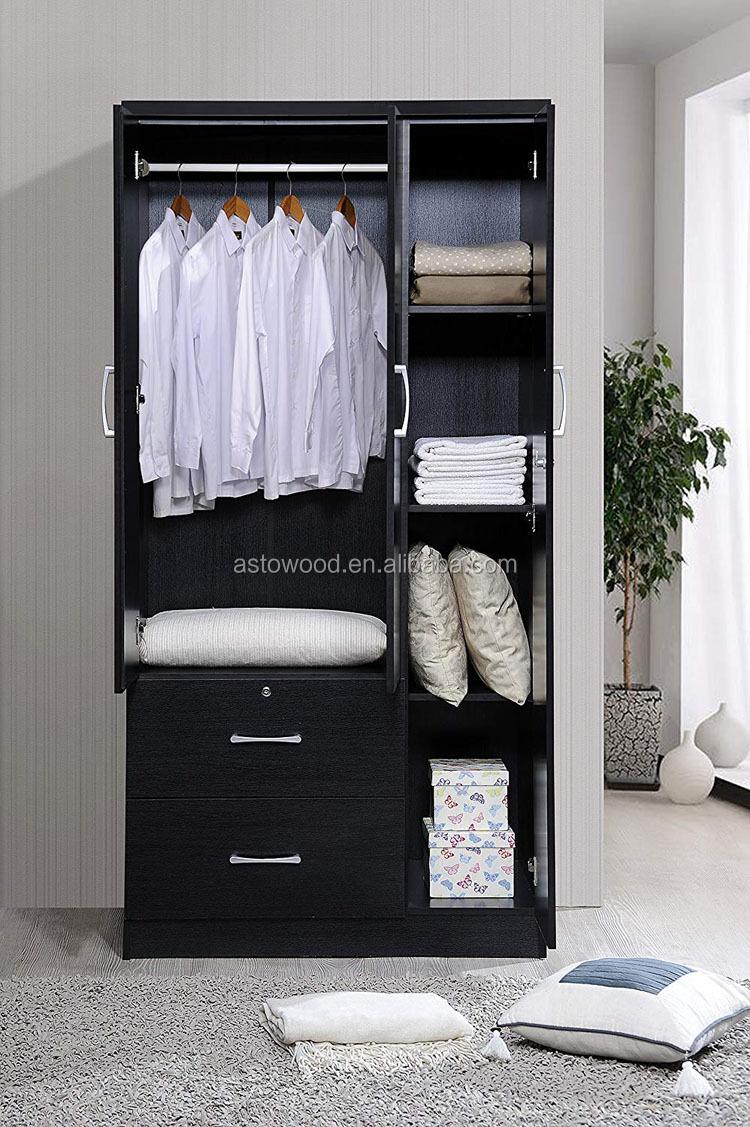עץ מלמין PB/MDF 3 דלת 2 מגירת ארון עם מדף וקולב לשימוש חדרי שינה