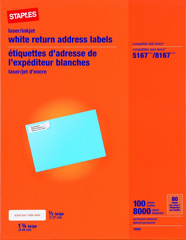 buy staples white inkjet laser return address labels 1 2 x 1 3 4