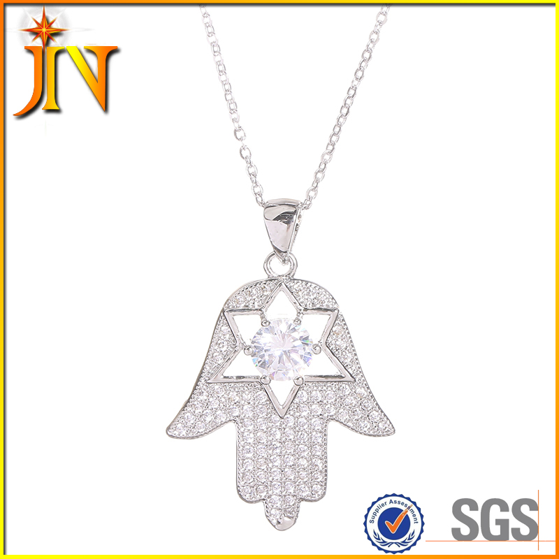 TN0114 JN Jewelry wholesale Hamsa Hand of God Fatima Hexagram lucky T-BAG hands Charm Pendant & Necklace