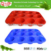 FDA Approved 12 Cups Silicone Baking Tray, Cake Baking Pans China Supplier