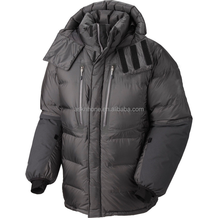Men's down parka jacket with nsulated hood in the coldest environments on Earth