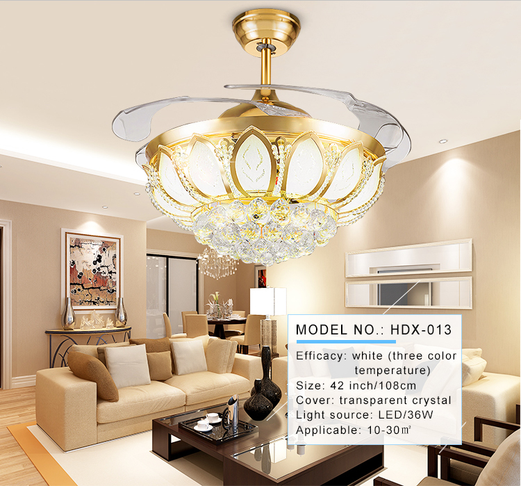 Modern Desiged Crystal 42 Inch Retractable Ceiling Fan Lamp With 4 Blades