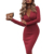 Women's Classic V Neck Long Sleeve Ruched Bodycon Wrap Cocktail Midi Dress