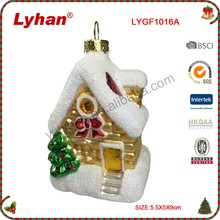Lyhan handpainted glass Cottage figurine for christmas tree decoration