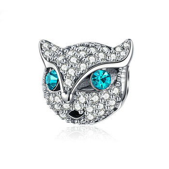 Custom 925 Sterling Silver Animal Blue Diamond Eyes Cat Head Pendants For Necklace