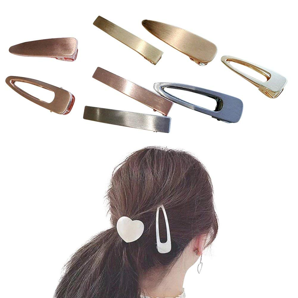 ShungFun 8pcs Women Girl Vintage Metal Simple Hair Clips Retro Pigtail Spring Clips Hair Holders
