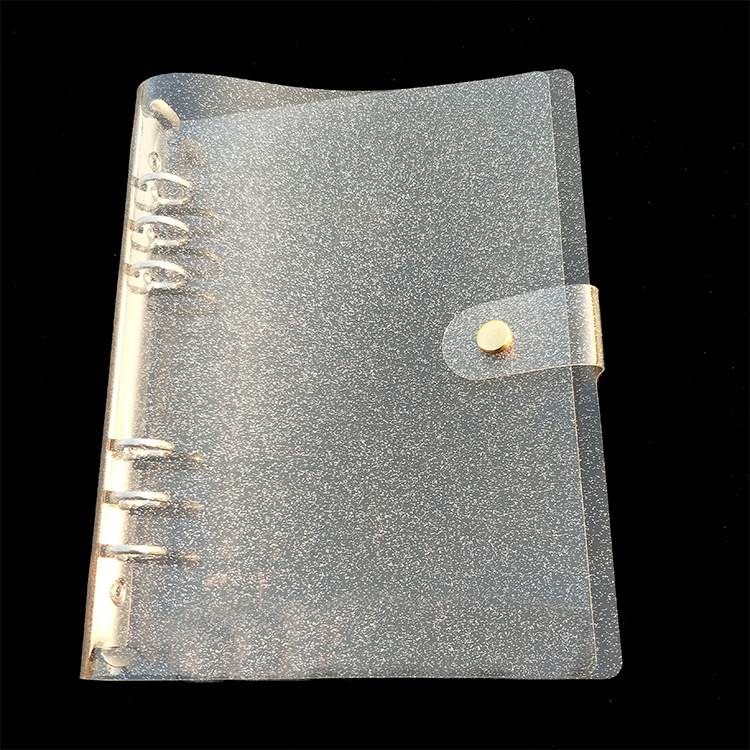 Black Bling, A5 6-Ring Binder Cover Refillable Notebook Shell,Snap Button Lock