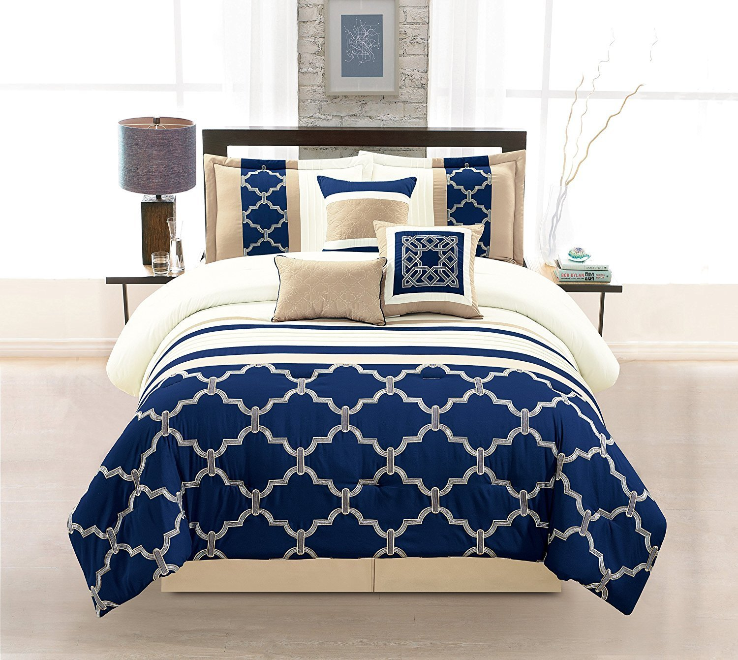 sets trendy navy comforter set blue king majestic