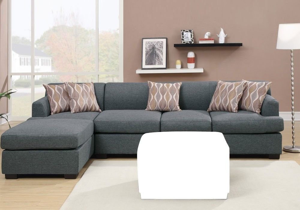 1PerfectChoice Bobkona Sectional Reversible Chaise Sofa Loveseat Couch  Blended Linen Blue Grey Pieces: Sofa + Chaise