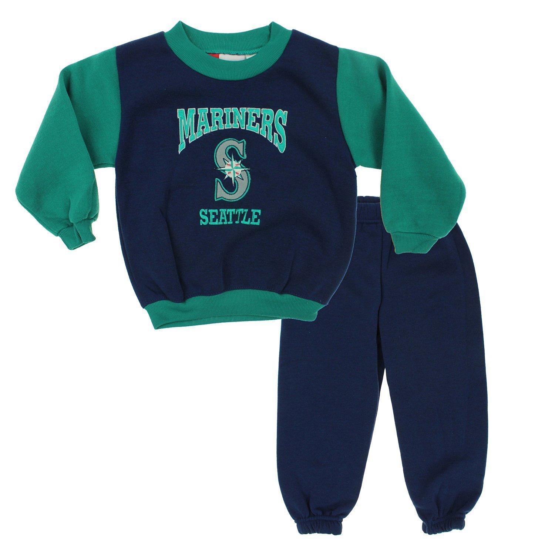 Seattle Mariners MLB Little Boys Toddler Top & Pants Fleece Jog Set, Blue-Green