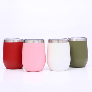 12OZ high quality well-designed double wall stainless steel tumbler cups new design egg tumbler mug egg shape bottle with lid