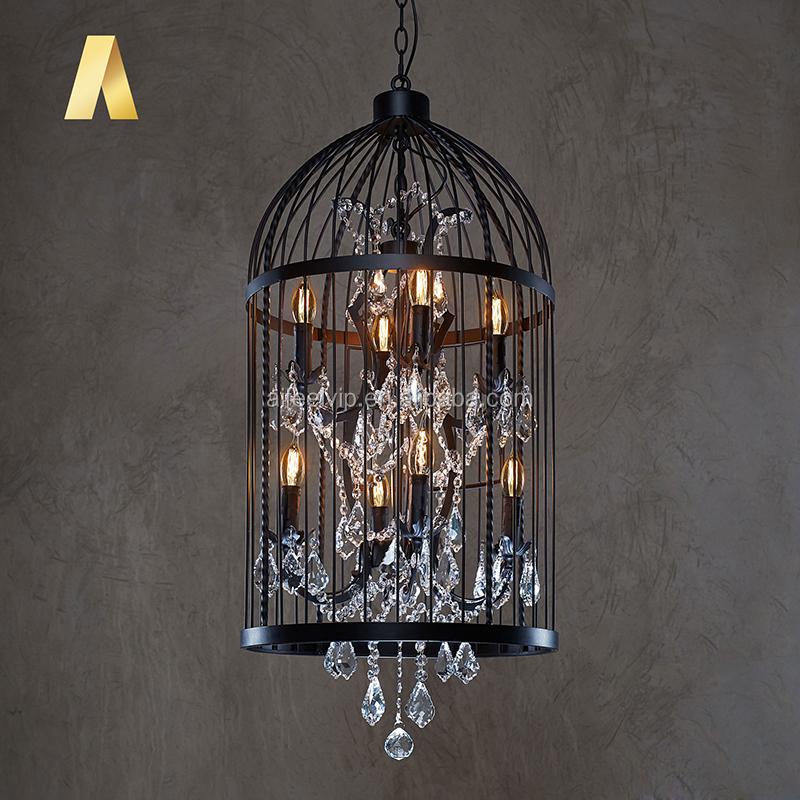 Industrial vintage bird cage chinese K9 crystal