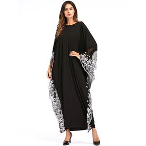 Factory wholesale fashion embroidery Lace dubai bat sleeve abaya muslim  dress women