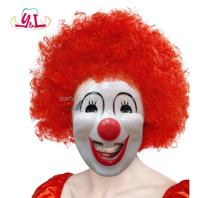 Halloween Masquerade Full Face Mask Funny Halloween Mask Classic Clown Villain Joke Hard Plastic Removable Nose