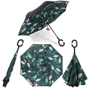 RST leaf design custom print C hook handle standard size double layer clever inverted umbrella