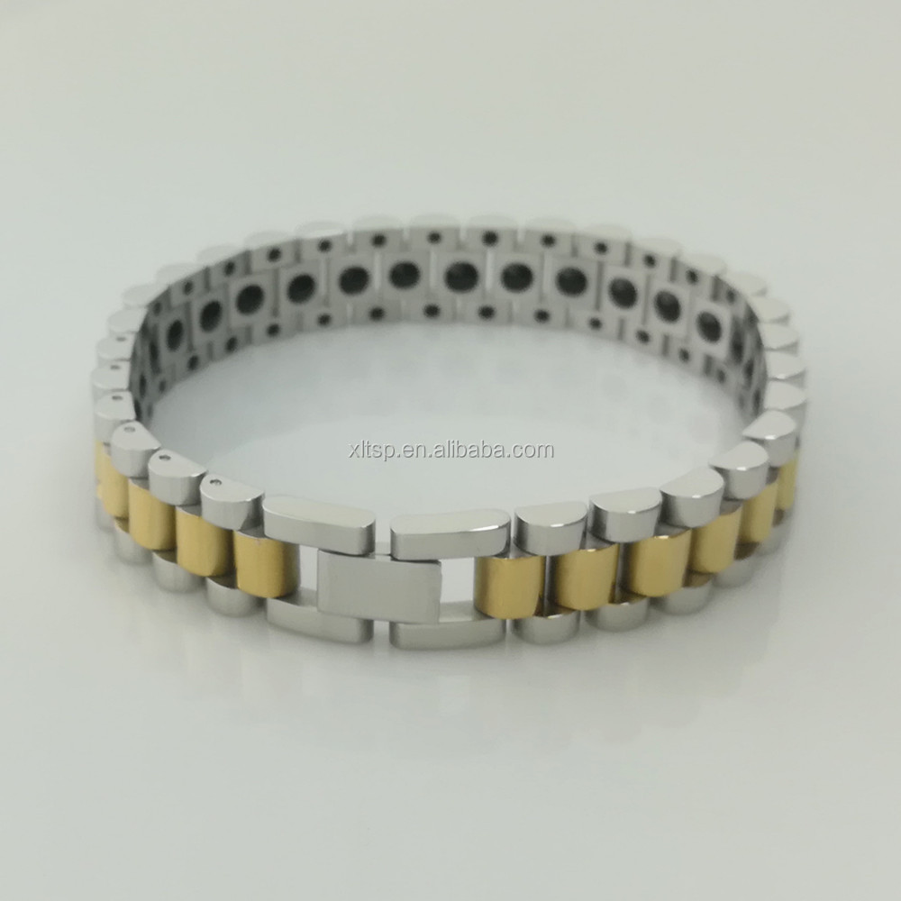 Top Grade Healthy stainless steel bracelet with Germanium Stone Mangetic Bracelets for women and men
