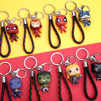 Colorful woven leather rope cute version Iron Men Captial American keychain chain keyring
