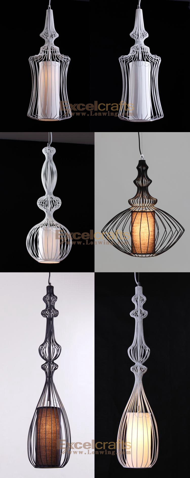 France Designer Wrought Iron Cage Chandeliers Abcd Shapes Home And ...