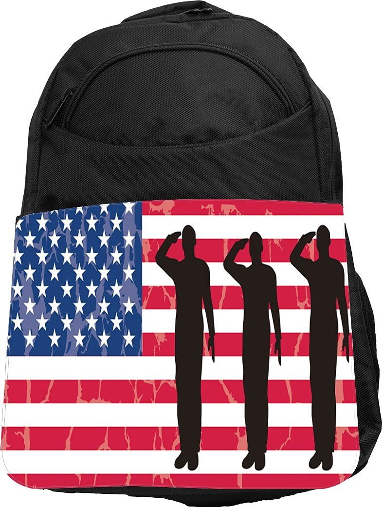 a9297247dc9 Get Quotations · Rikki Knight® UKBK US Army Silhouettes on American Flag  Background Tech BackPack - Padded for