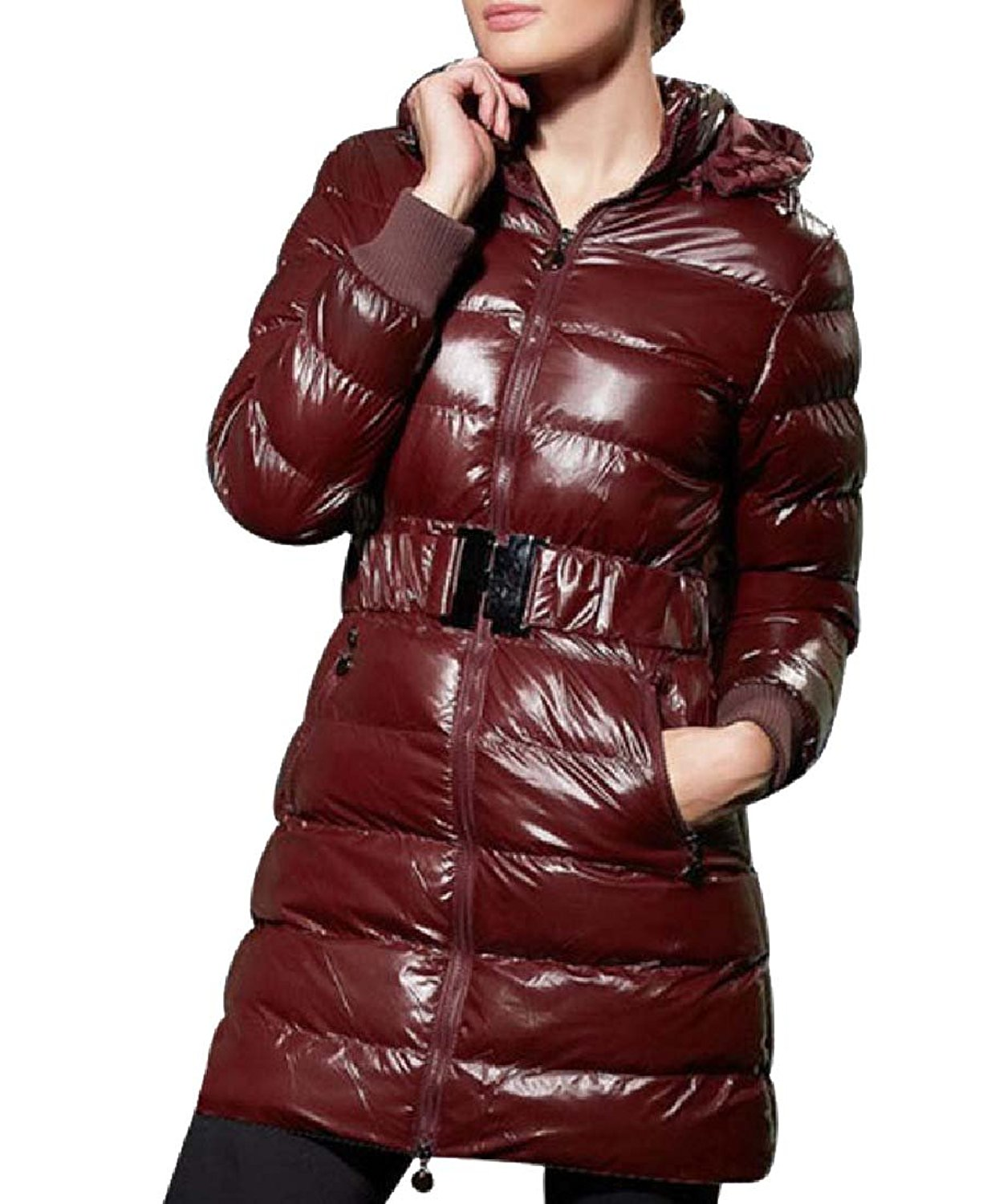 Abetteric Womens Plus-Size Zip-Front Smooth Mid-Length Quilted Jacket