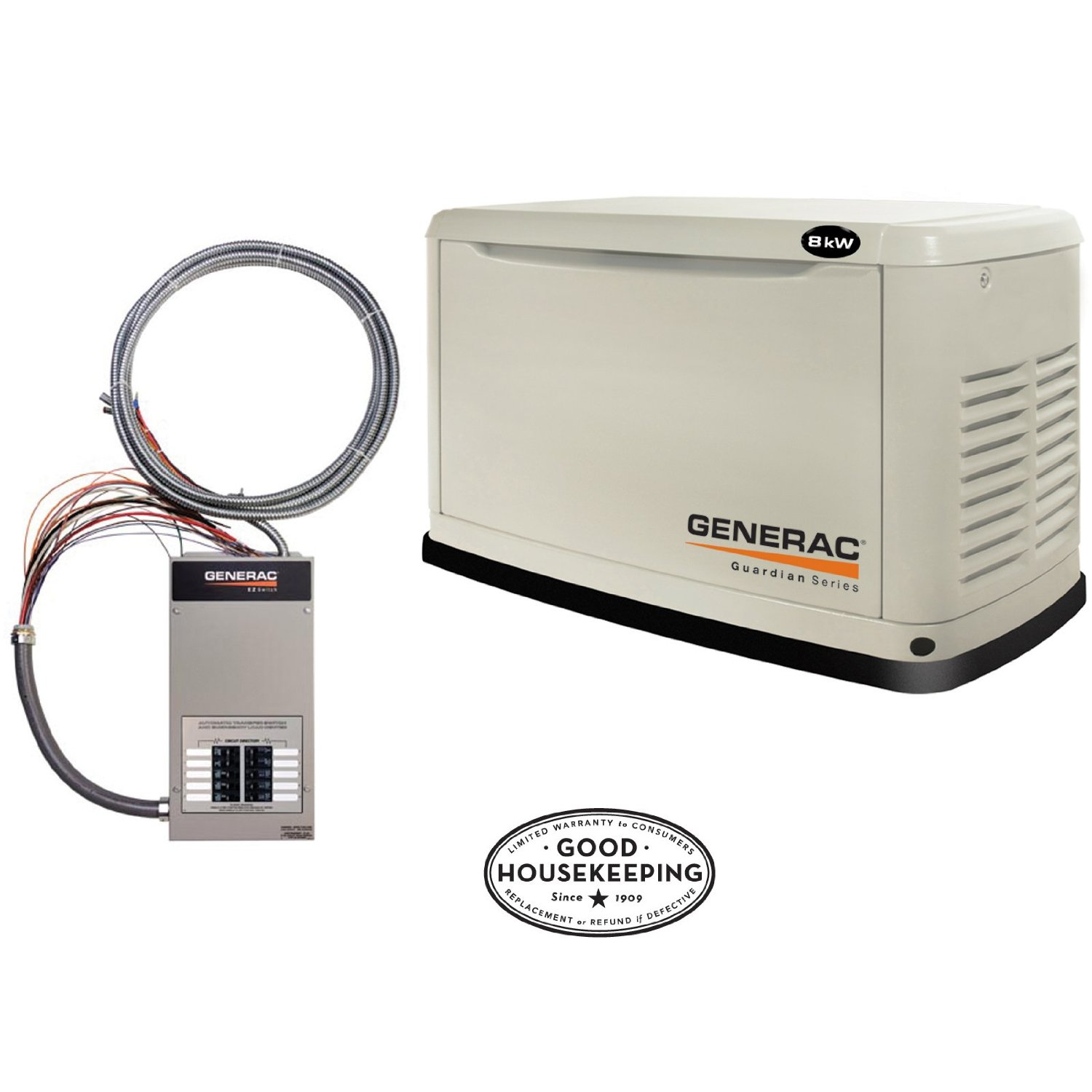 Generac Guardian Series 5870 8,000 Watt Air-Cooled Liquid Propane/Natural Gas Powered Standby Generator With Transfer Switch (Discontinued by Manufacturer)
