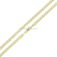 wholesale custom fashion jewelry 14k Gold 3mm Solid Cuban Curb Link Chain Necklace for men