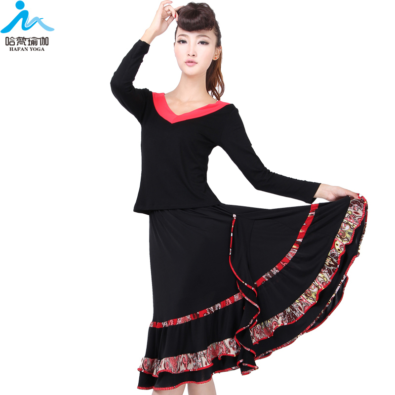 935b10047491 Get Quotations · Plus size female long-sleeve V collar top Latin dance  skirt floral print dress dance