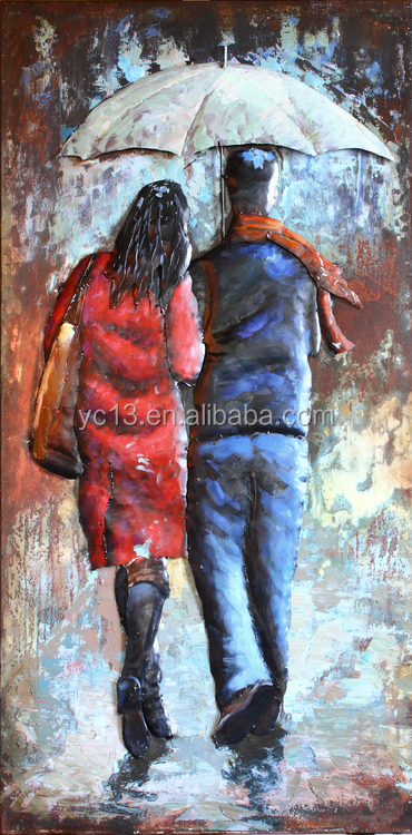 3d Cool Painting Lovers For A Walk In The Rain Wall Art For Living Room Decor Buy Wall Art Picture Oil Painting Metal Wall Art Decor Product On Alibaba Com