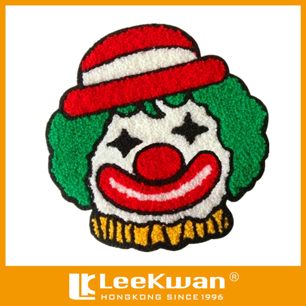 embroidery cartoon& clown chenille patch,chenille applique