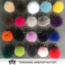 Lastest Colorful Bag Charm Soft Fox Fur Ball Keychain Pendant Pompon