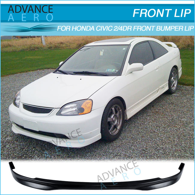 For Honda Civic 2dr 4dr 01 02 03 T R Style Poly Urethane Front Per Lip Spoiler Body Kit Pu