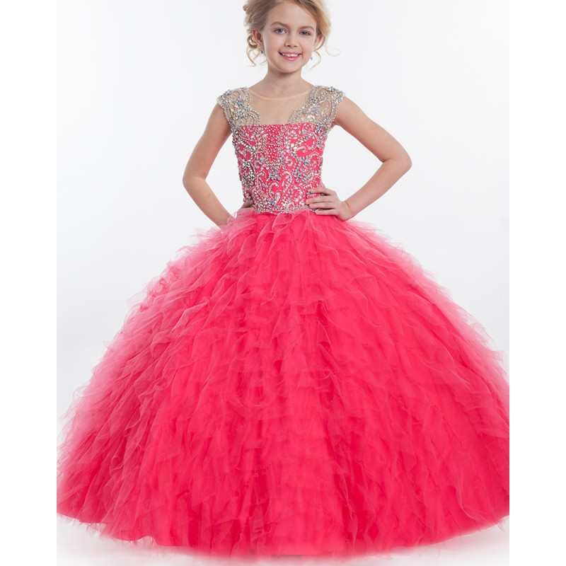 Cap Sleeve Hot Pink Flower Girl Dresses Ball Gown 2015 Fashion Tulle Cascading Waves Ruffle Girls Pageant Dress Vestidos daminha