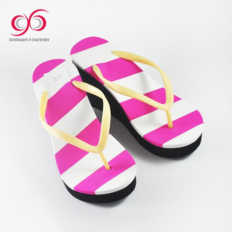 5d4d68877047d5 Wholesale china bulk fashion printed eva wedge heel flip flop for women