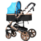Two-Way High Landscape Stainless Steel Lycra Cotton Baby Stroller With Mummy Bag