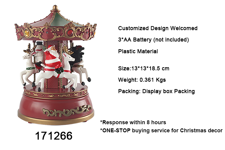 Colorful noel festival decoration Polyresin Christmas Carousel Music box with custom melody