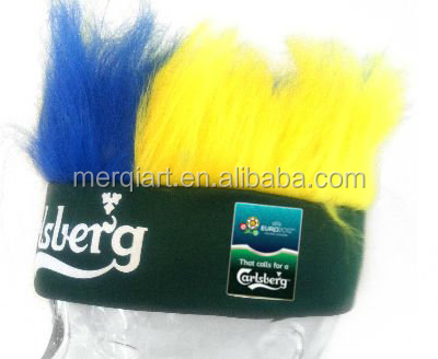 Factory direct sell headband wig for football fans or basketball fans or other sports events