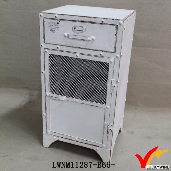 Retro Vintage Industrial Storage Cabinet Mesh Door White