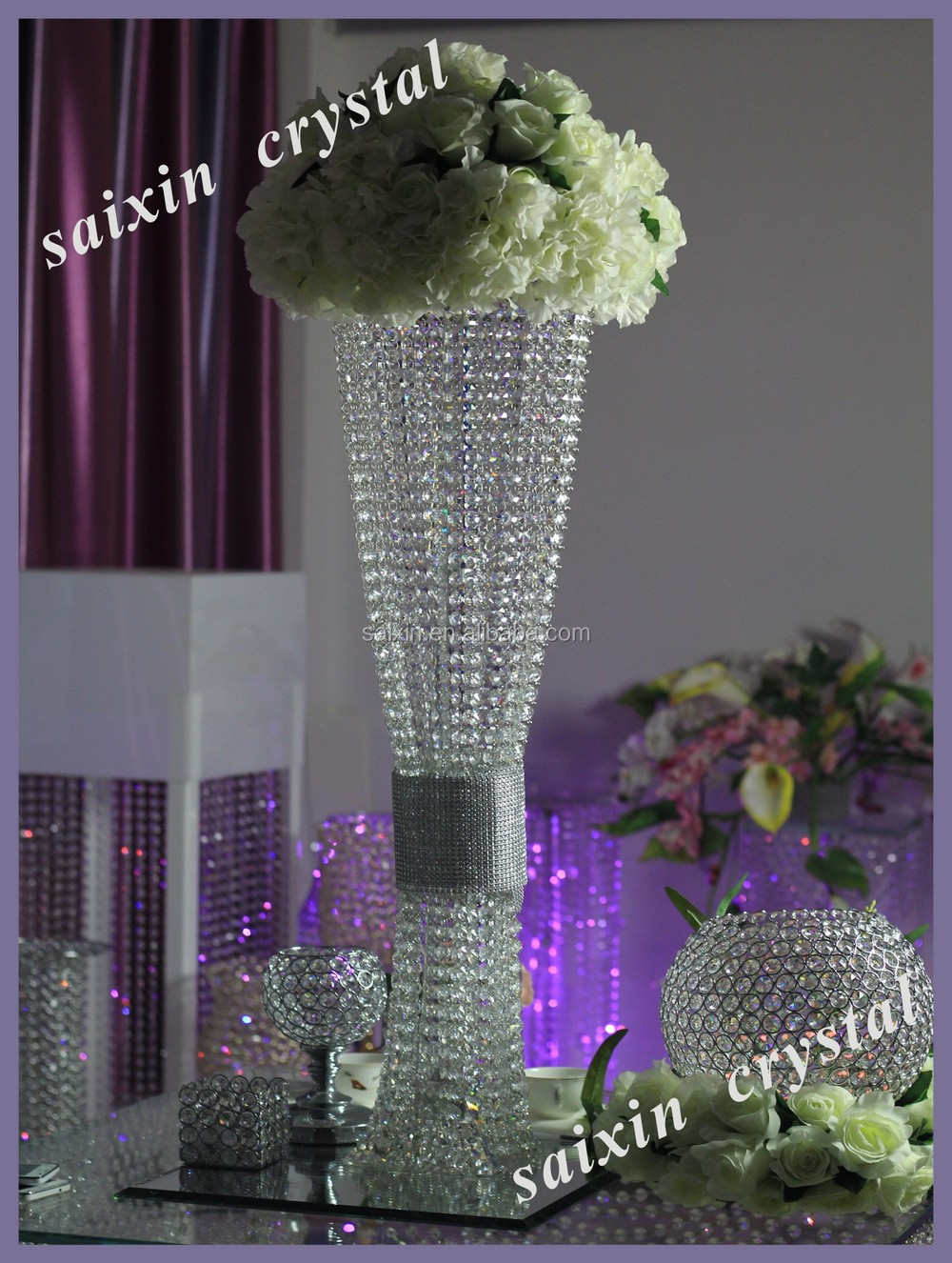 Crystal flower stand tall wedding candelabra centerpiece for Buy wedding centerpieces