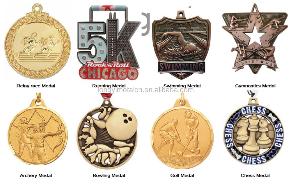 Zinc Alloy Welcomed Design Glitter Sport Running Medal Custom ...