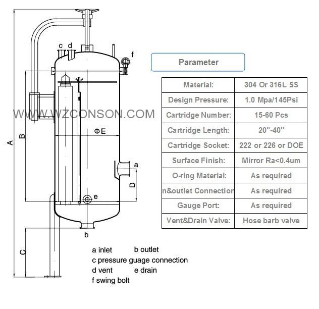 Ss 316 Multi Cartridge Filter Vessel Food Grade Stainless