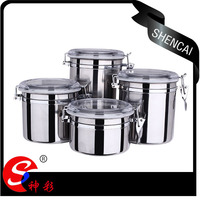 wholesale stainless steel food coffee tea sugar round tin canister