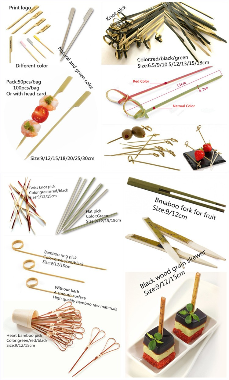 Natural colored knot bamboo pick flat kebab skewers for party