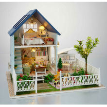 Novelty DIY Wood Doll House Assembling Toys for Children's Birthday Gift,NEW Miniature Dollhouse-Nordic Holiday Free Shipping