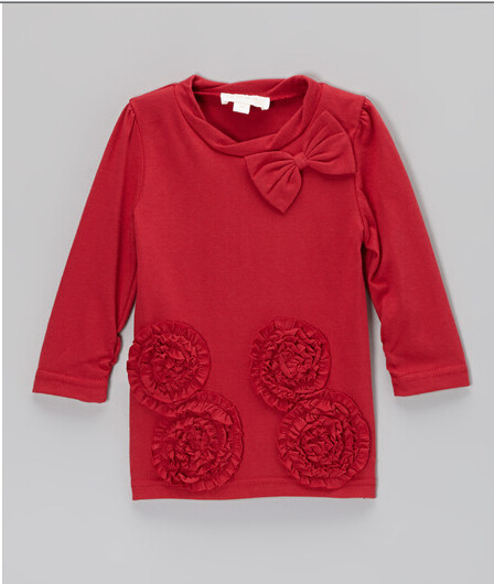 baby girl boutique red rose shirt super soft cotton ruffle tunic