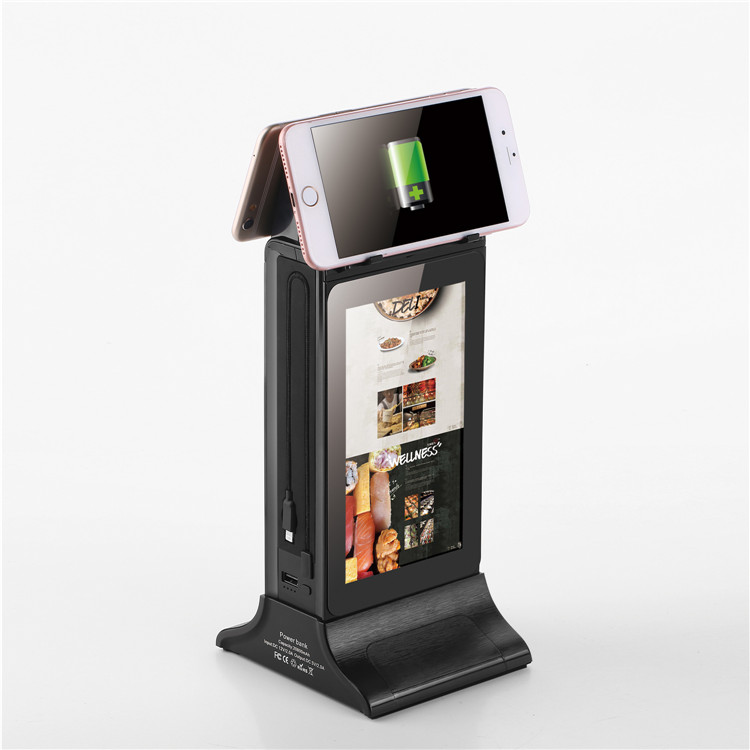 Restaurant/cafe/bar power bank wifi android digital display menu charging station digital signage table lcd advertising player
