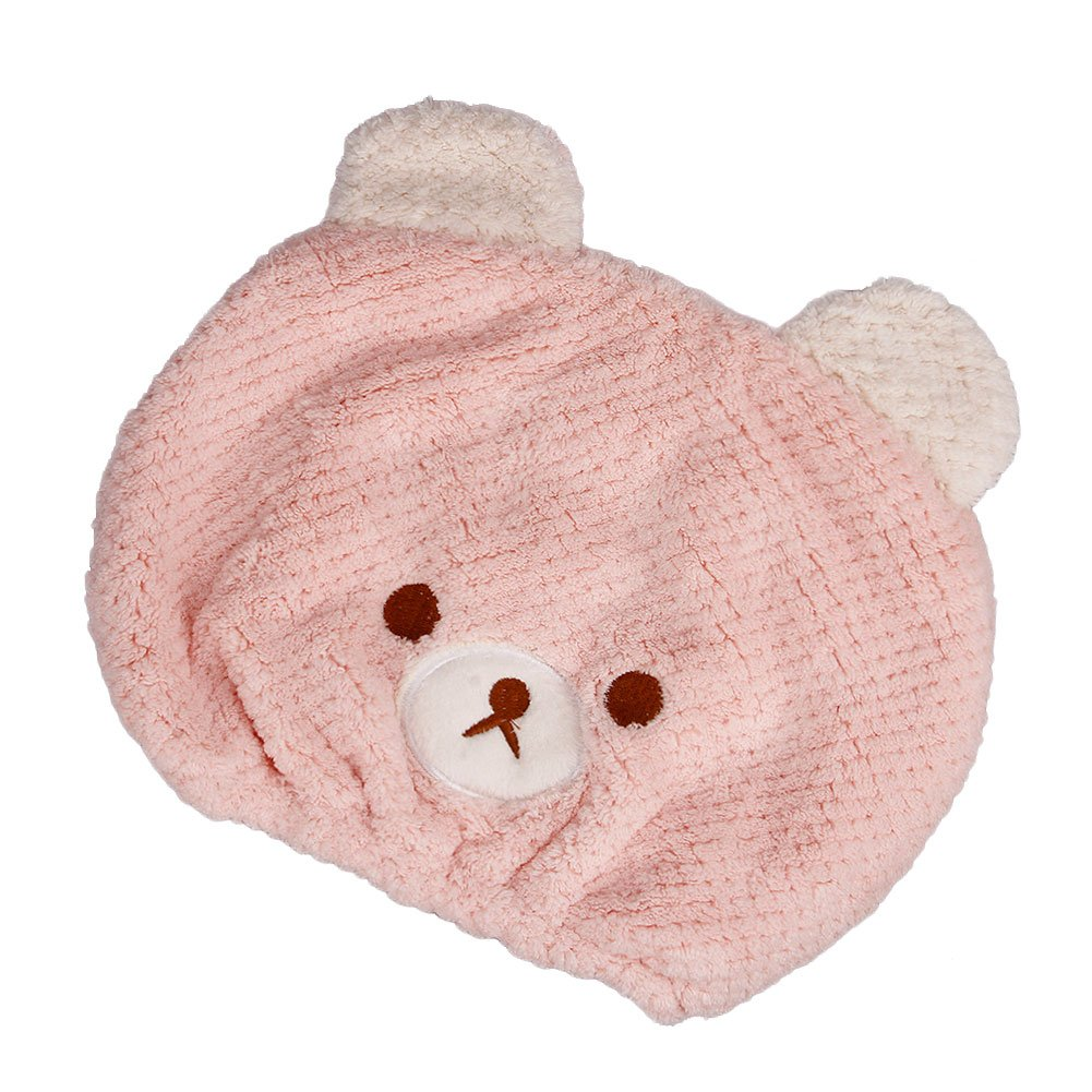 Kids Girls Hair Drying Towel Bath Towels Fast Drying Hair Wrap Dry Hair Cap Hair Towel Wrap Turban Absorbent Kids Shower Caps Head Towel Bath Spa Swimming Dry Cap Travel (Baby Pink)