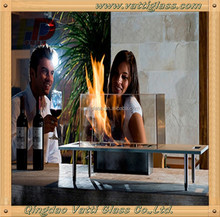 Table Glass Ethanol Fireplace Indoor and Outdoor table fire heat resistant clear ceramic glass