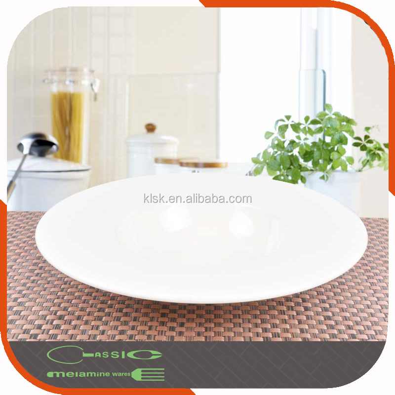 A5 white plastic deep disc wide side shallow bowl straw hat dish melamine plate restaurant creative dish